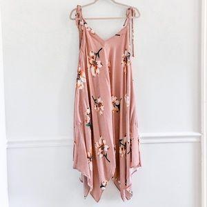 Easel Blush Floral Tie Sleeve Midi Dress